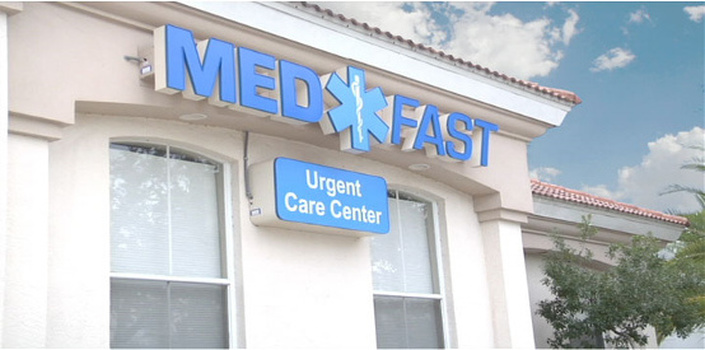 Viera location of med fast urgent care center sign